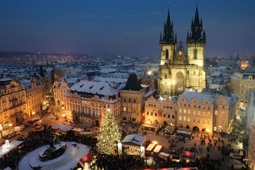 Old town square in Prague at Christmass time. Night.
